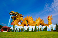 Big dragon at Dragon descendants public museum. With blue sky background at Suphanburi city, Thailand Royalty Free Stock Photo