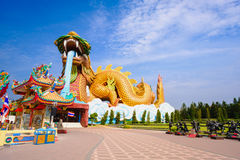 Big dragon at Dragon descendants public museum. With blue sky background at Suphanburi city, Thailand Stock Photos