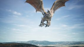 Big dragon flying over desert. 3D Rendering royalty free stock images