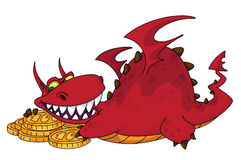 Big dragon with money. Illustration of a big dragon with money Stock Photography