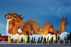 Big dragon statue at night Stock Photo