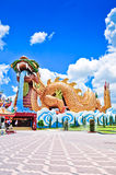 A big dragon at Suphanburi with blue sky. A Big dragon at a Chinese style city pillar shrine in Suphan Buri Province , Thailand Royalty Free Stock Photography