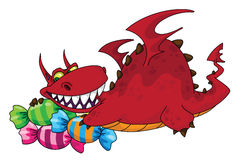 Big dragon with sweets. Illustration of a big dragon with sweets Stock Image
