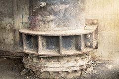 Big drain iron. rust. decay. wall dirty. street dirty.  Royalty Free Stock Images