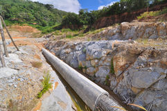 Big Drain pipe. Concrete drain pipe prepaired for Dam construction Stock Images