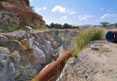 Big Drain pipe. Concrete drain pipe prepaired for Dam construction Stock Photos