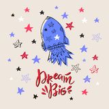 Lettering2. Big dream-template card. Inspirational and motivational handwritten lettering quote . Handdrawn lettering - perfect design element for postcard or royalty free illustration
