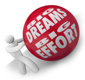 Big Dreams and Effort Person Rolling Ball Uphill to Goal. The words Big Dreams Big Effort on a heavy red ball being rolled uphill by a determined person or vector illustration