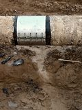 Big drink water pipes joined with  stainless repairing sleeve members Stock Photography