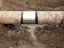 Big drink water pipes joined with  stainless repairing sleeve members Stock Image