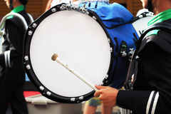 Big drum of marching band in parade. Music royalty free stock photo