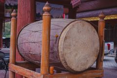 Big Drum is in Wat Pipatmongkon is Thai temple. In Sukhothai Thailand royalty free stock image