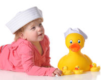 Big Duck, Little Ducks Stock Images