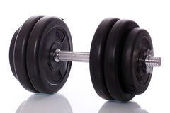 Big dumbells over white background Royalty Free Stock Photo