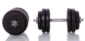 Big dumbells over white background Royalty Free Stock Image