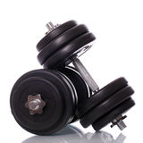 Big dumbells over white background Royalty Free Stock Photography
