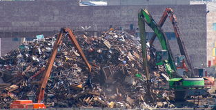 Big dump. Loading of scrap metal on a dump Stock Photo