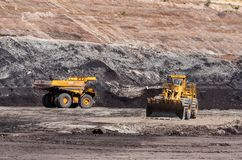 Big dump truck is mining machinery, or mining equipment to trans Stock Photography
