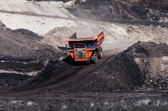 Big dump truck is mining machinery, or mining equipment to trans Royalty Free Stock Image