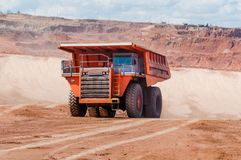 Big dump truck is mining machinery, or mining equipment to trans Stock Photo