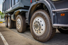 wheels of brand new dumb trucks royalty free stock photo