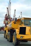 Big dumper truck in port. Big dumper truck in harbor Royalty Free Stock Photography