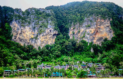 The Big Duo Mountain. The Big duo mountain has above the village on the beach krabi island thailand Stock Image