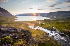 Big Dynjandi waterfall in Iceland Stock Photography