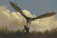 The big eagle attack the warrior from above in a field. Illustration painting Stock Photo
