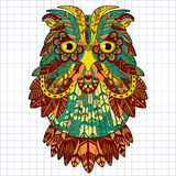 Big eagle owl. Birds. Hand drawn doodle zentangle Stock Photos