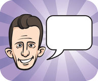 Big eared face with speech bubble. Vector illustration of big eared face with speech bubble Royalty Free Stock Images