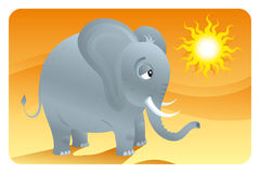 Big ears. Cartooned tiny elephant at desert royalty free illustration