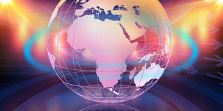 Big Earth Globe In 3D Studio Space Center Concept Series 135. Big Earth Globe In 3D Studio Space Center, 3d Illustration Royalty Free Stock Images