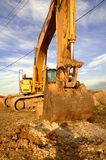 Big earth mover. Earth moving machine parked for the day Stock Photo