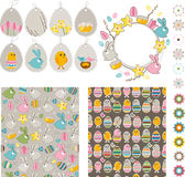 Big Easdter collection with chickens and rabbits Stock Images