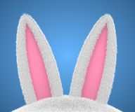 Big Easter bunny rabbit ears. 3d render Royalty Free Stock Images