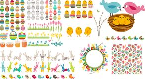 Big easter collection with eggs,birds and rabbits Stock Images