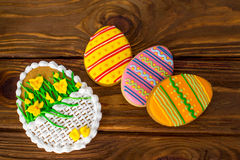 Big Easter cookies with icing sword lily topview Stock Photography