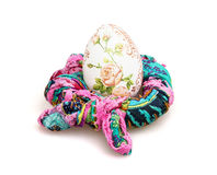 Big Easter egg and colorful scarf on the white background Stock Image