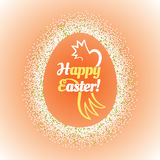 Big Easter egg glittering frame and text inside Stock Photo
