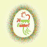 Big Easter egg glittering frame and text inside Stock Image