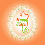 Big Easter egg glittering frame and text inside. Composition with a colorful confetti frame around a big Easter egg with a congratulatory text and stilized Royalty Free Stock Photos
