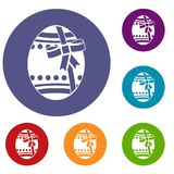 Big easter egg icons set. In flat circle red, blue and green color for web Royalty Free Stock Photo