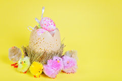 Big easter egg and small chickens Stock Photo