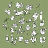 Big easter elements set. Vector big set with easter doodle elements on green background Royalty Free Stock Images