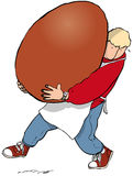 Big Easter. Man carrying enormous Easter egg Stock Photos