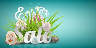 Big Easter sale banner background template with huge discount offer, green grass, stones and eggs. stock illustration
