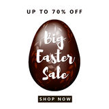 Big Easter Sale. Colorful background with brown, chocolate egg. Vector Stock Image