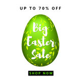 Big Easter Sale. Colorful background with green egg. Vector Stock Images