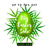 Big Easter Sale colorful background with green egg. Vector Royalty Free Stock Photos